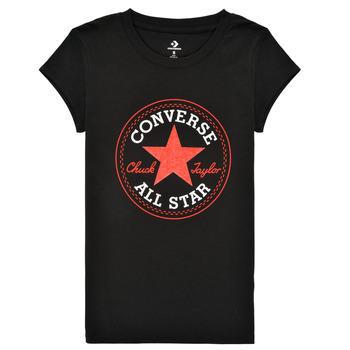 Textiel Meisjes T-shirts korte mouwen Converse TIMELESS CHUCK PATCH TEE Zwart