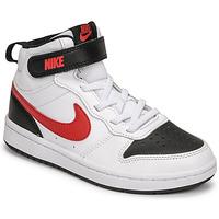 Schoenen Jongens Lage sneakers Nike NIKE COURT BOROUGH MID 2 Wit / Rood / Zwart
