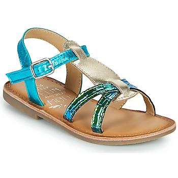 Schoenen Meisjes Sandalen / Open schoenen Mod'8 CALICOT Turquoise / Goud