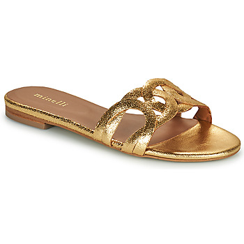 Schoenen Dames Leren slippers Minelli NANCIA Goud