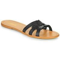 Schoenen Dames Leren slippers So Size MELINDA Zwart