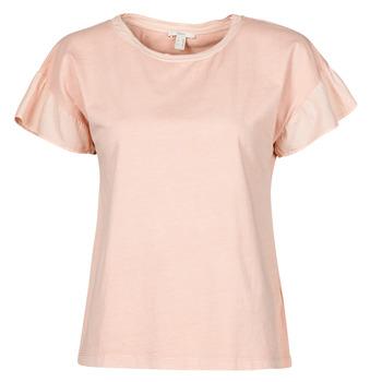 Textiel Dames T-shirts korte mouwen Esprit T-SHIRTS Roze
