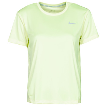 Textiel Dames T-shirts korte mouwen Nike MILER TOP SS Groen / Grijs