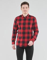 Textiel Heren Overhemden lange mouwen Jack & Jones JJEGINGHAM Rood / Zwart