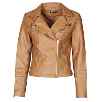 Textiel Dames Leren jas / kunstleren jas Only ONLGEMMA Cognac