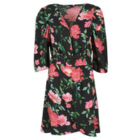 Textiel Dames Korte jurken Only ONLEVE 3/4 SLEEVE SHORT DRESS WVN Zwart / Roze