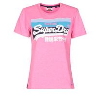 Textiel Dames T-shirts korte mouwen Superdry VL CALI TEE 181 Roze