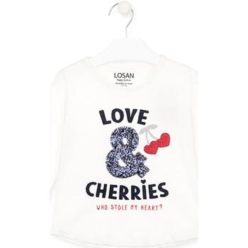 Textiel Meisjes T-shirts met lange mouwen Losan 026-1022AL Wit
