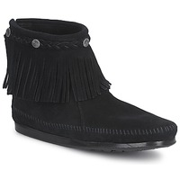 Schoenen Dames Laarzen Minnetonka HI TOP BACK ZIP BOOT Zwart