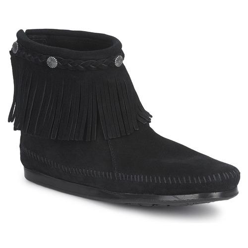 Schoenen Dames Laarzen Minnetonka HI TOP BACK ZIP BOOT Zwart