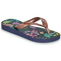 Schoenen Meisjes Slippers Havaianas KIDS FLORES Marine / Goud