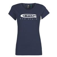 Textiel Dames T-shirts korte mouwen G-Star Raw GRAPHIC 20 SLIM Blauw