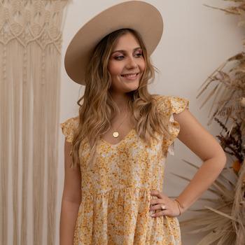 Textiel Dames Korte jurken Céleste DAHLIA Geel / Wit