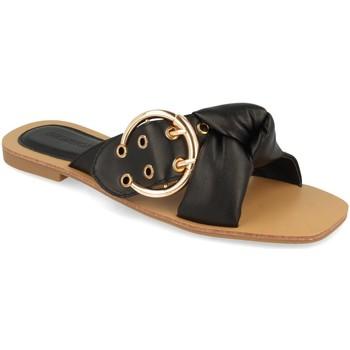 Schoenen Dames Leren slippers Buonarotti 1HA-1139 Negro