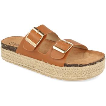 Schoenen Dames Leren slippers Benini 21301 Camel