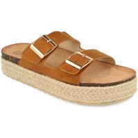 Schoenen Dames Leren slippers Benini 21302 Camel
