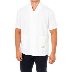 Textiel Heren Overhemden korte mouwen La Martina Chemise à manches courtes Wit