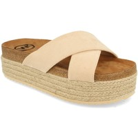 Schoenen Dames Leren slippers Woman Key MT-53 Beige