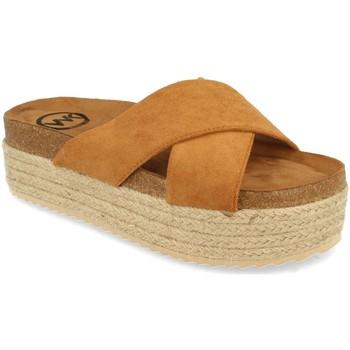 Schoenen Dames Leren slippers Woman Key MT-53 Camel