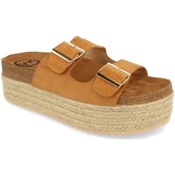 Schoenen Dames Leren slippers Woman Key MT-51 Camel