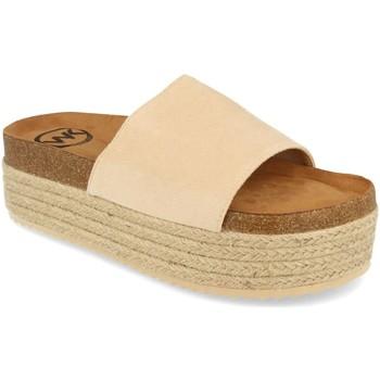 Schoenen Dames Leren slippers Woman Key MT-52 Beige