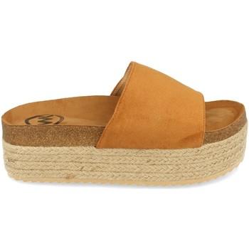 Schoenen Dames Leren slippers Woman Key MT-52 Camel