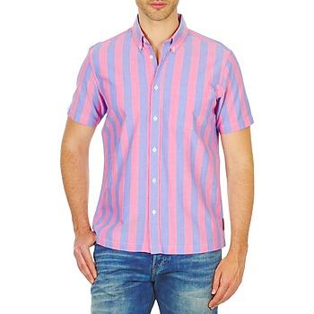 Textiel Heren Overhemden korte mouwen Ben Sherman BEMA00487S Roze / Blauw