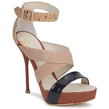 Schoenen Dames Sandalen / Open schoenen John Galliano AN6363 Roze / Marine / Beige
