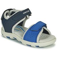 Schoenen Jongens Sandalen / Open schoenen Geox SANDAL PIANETA Blauw