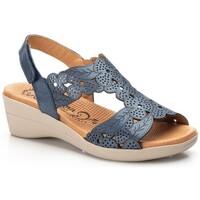 Schoenen Heren Espadrilles Morxiva Shoes Sandalias de piel de mujer con cuña by Morxiva Bleu