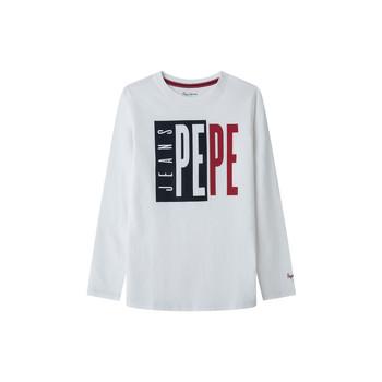 Textiel Jongens T-shirts met lange mouwen Pepe jeans AARON Wit