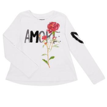 Textiel Meisjes T-shirts met lange mouwen Desigual FLOR Wit