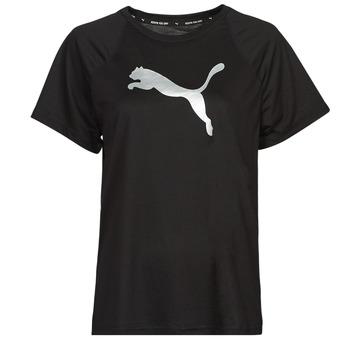 Textiel Dames T-shirts korte mouwen Puma EVOSTRIPE TEE Zwart