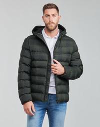 Textiel Heren Dons gevoerde jassen Geox SANDFORD Zwart / Kaki