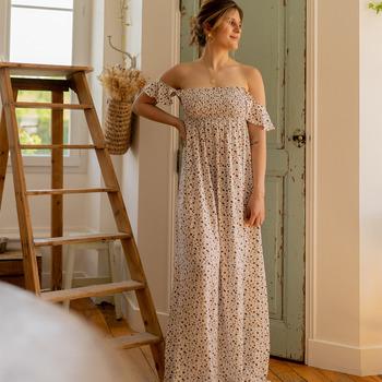 Textiel Dames Lange jurken Céleste PATCHOULI Ecru / Zwart