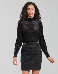 Textiel Dames T-shirts met lange mouwen Morgan TISPI Zwart