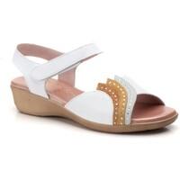 Schoenen Dames Sandalen / Open schoenen Cbp - Conbuenpie Sandalias con cuña de piel by CBP Blanc