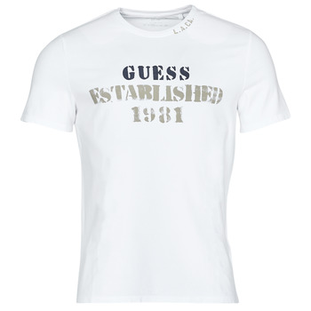 Textiel Heren T-shirts korte mouwen Guess WORKFOR CN SS TEE Wit