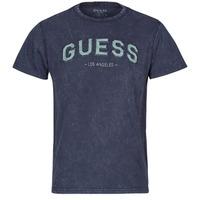 Textiel Heren T-shirts korte mouwen Guess GUESS COLLEGE CN SS TEE Marine