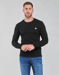 Textiel Heren T-shirts met lange mouwen Guess CN LS CORE TEE Zwart