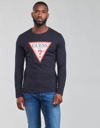Textiel Heren T-shirts met lange mouwen Guess CN LS ORIGINAL LOGO TEE Marine