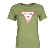 Textiel Dames T-shirts korte mouwen Guess SS CN ORIGINAL TEE Kaki