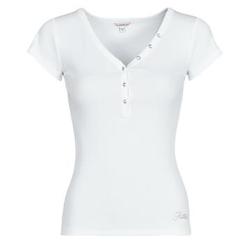 Textiel Dames T-shirts korte mouwen Guess ES SS V NECK LOGO HENLEY TEE Wit