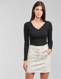 Textiel Dames T-shirts met lange mouwen Guess ES LS V NECK LOGO HENLEY TEE Zwart