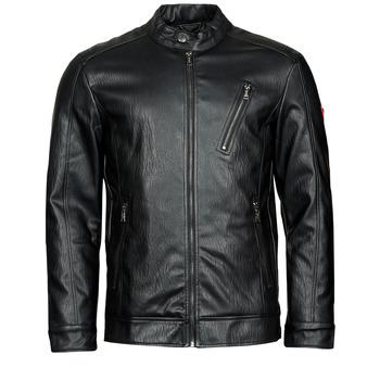Textiel Heren Leren jas / kunstleren jas Guess PU LEATHER BIKER Zwart