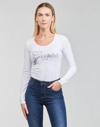 Textiel Dames T-shirts met lange mouwen Guess LS CN RAISA TEE Wit
