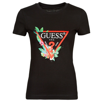 Textiel Dames T-shirts korte mouwen Guess SS CN NORA TEE Zwart