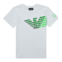 Textiel Jongens T-shirts korte mouwen Emporio Armani EA7 THAMIA Wit / Groen