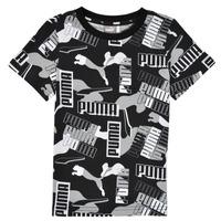 Textiel Jongens T-shirts korte mouwen Puma ALPHA AOP TEE Zwart