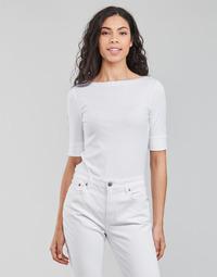 Textiel Dames T-shirts met lange mouwen Lauren Ralph Lauren JUDY-ELBOW SLEEVE-KNIT Wit